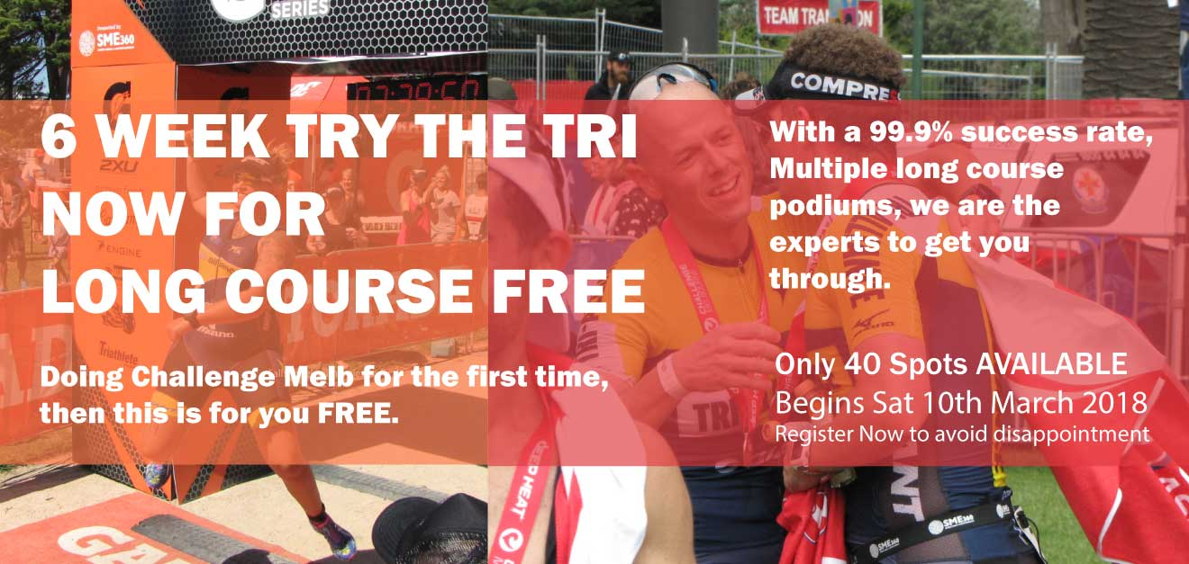 Prerequisite for Challenge Melbourne Try the Tri Program. You must commit to 3-4 of the timetables sessions per week. You must be able to swim a length of a 100m in a pool without stopping, You must be able to ride on the road with a moderate level of skill, You must be able to run 5km without stopping, you must not have any current injuries. Prerequisite for Challenge Sprint and 2XU Sprint/Olympic Try the Tri Program. Olympic Distance You must commit to 3 of the timetables sessions per week. You must be able to swim a length of a 25m in a pool without stopping, You must be able to ride on the road with a moderate level of skill, You must be able to run 1km without stopping, you must not have any current injuries. Sprint Distance You must commit to 2 of the timetables sessions per week. No expectations of prerequisite